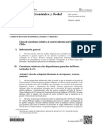 Comite DESC ONU. Lista de Cuestiones Examen Chile