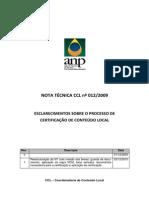 Anp - Certificação de Conteúdo Local - Nt 12