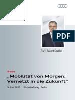 """Rupert Stadler - """"Mobilität von Morgen"""