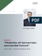 """Rupert Stadler - """"Mobility of tomorrow"""