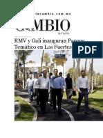 08-06-2015 Diario Matutino Cambio de Puebla - RMV y Gali Inauguran Parque Temático en Los Fuertes