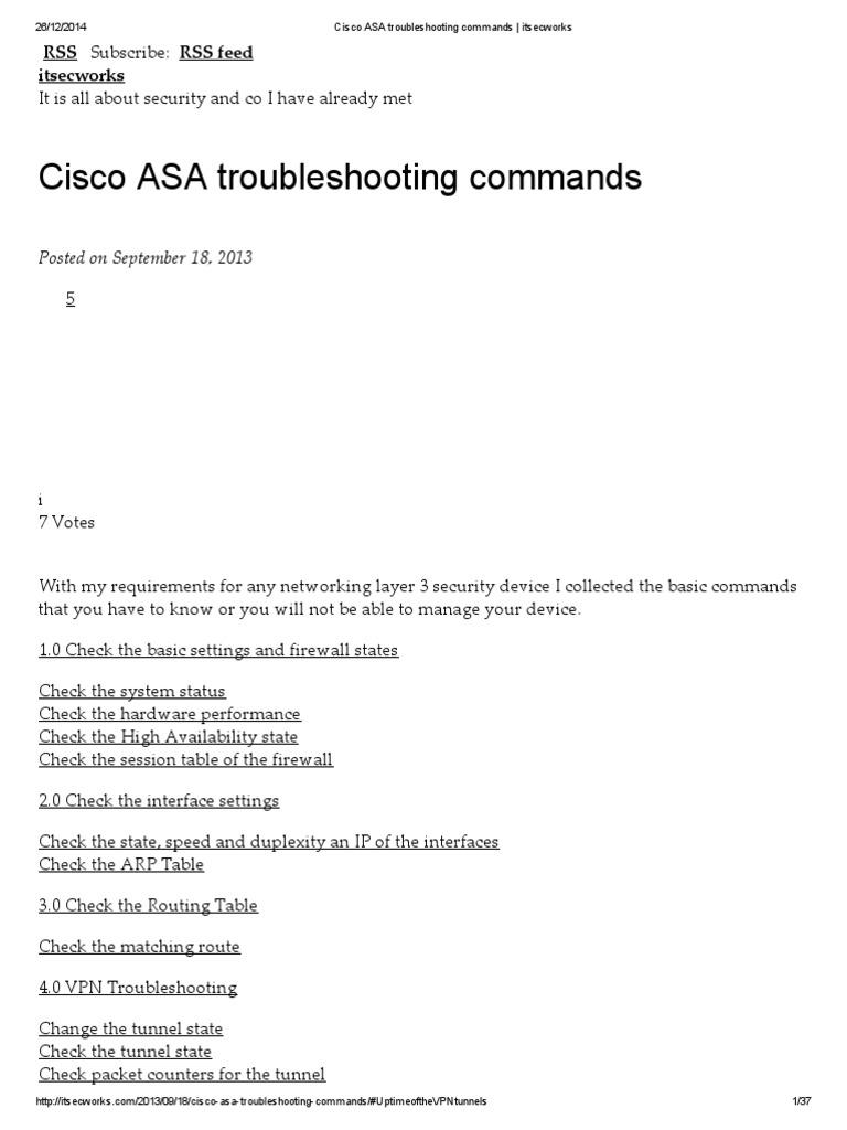 Cisco ASA Troubleshooting Commands _ Itsecworks | Transmission
