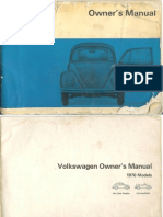August 1969 Beetle Owners Manual
