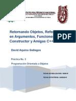 Retornando Objetos, Referencia en Argumentos, Funciones Constructor y Amigas C++