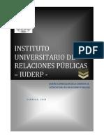 Diseño Curricular de La Licenciatura en Relaciones Públicas Portada y Diseño 2014