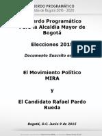Acuerdo Programático Movimiento MIRA - Rafael Pardo