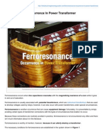 Ferroresonance Occurrence in Power Transformer