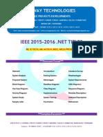 2016 Ieee .Net Data Engineering Project Titles