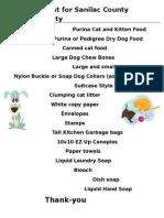 wish list for sanilac county humane society 2015