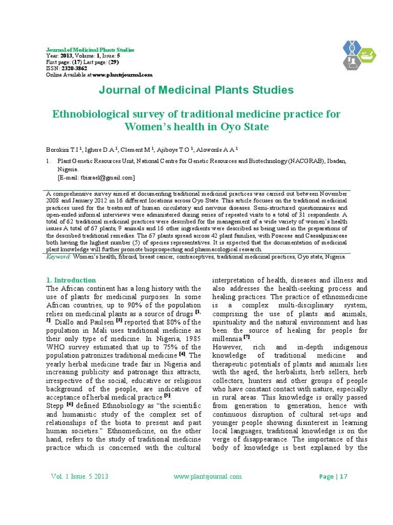 Ethnobiological survey of traditional medicine practice for