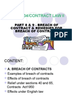 Chapter 8 & 9 - Breach of Contract & Its Remedies