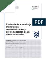 Evidencia de Aprendizaje. Delimitación, Contextualización y Problematización de Un Objeto de Estudio