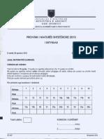 Matura shtetërore 2015, ja përgjigjet e sakta të provimit të matematikës