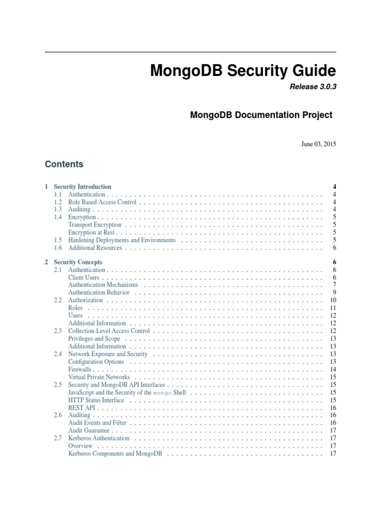MongoDB Security Guide | Mongo Db | Virtual Private Network