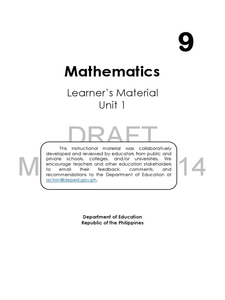 Mathematics Grade 9 Module   Quadratic Equation   Factorization