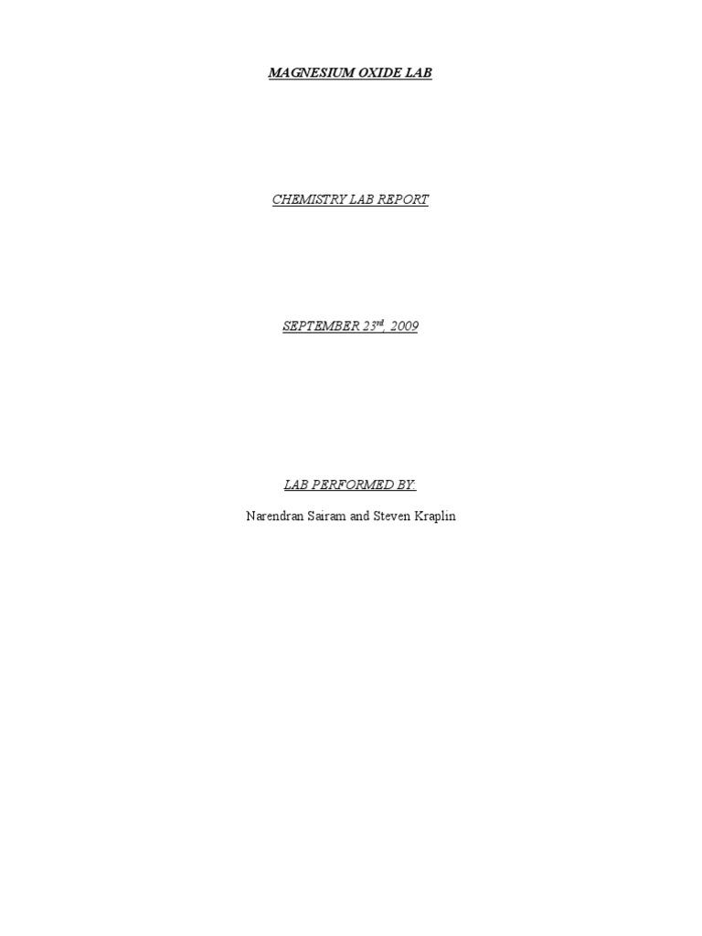 magnesium oxide lab report
