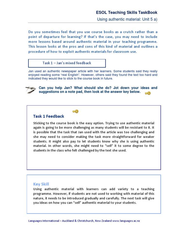 5 esol teaching skills taskbook unit 5 english as a second or