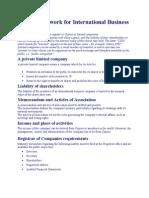 Legal Framework for International Business Companies