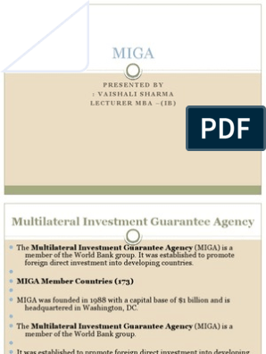 Multilateral investment guarantee agency pdf to excel neelam mantri varun investments