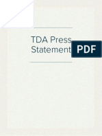 TDA Press Statement