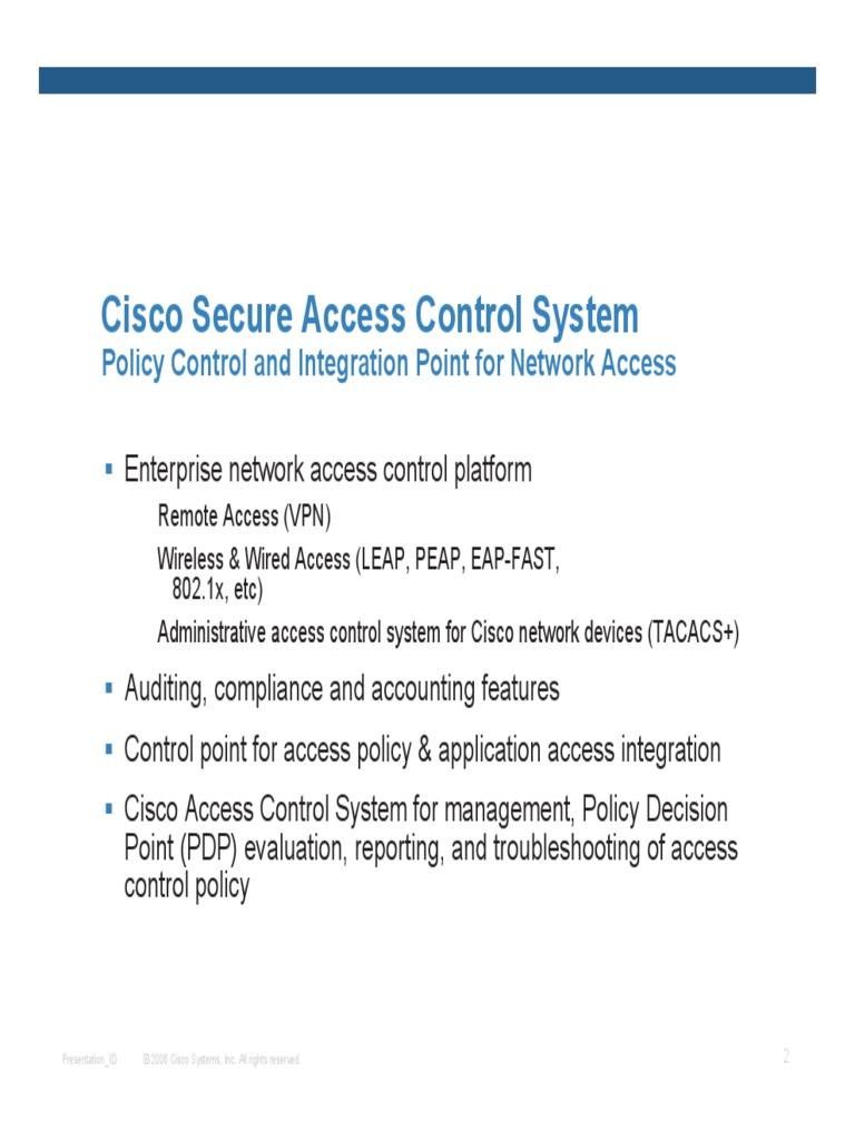 Cisco ACS Overview | Radius | Security Technology