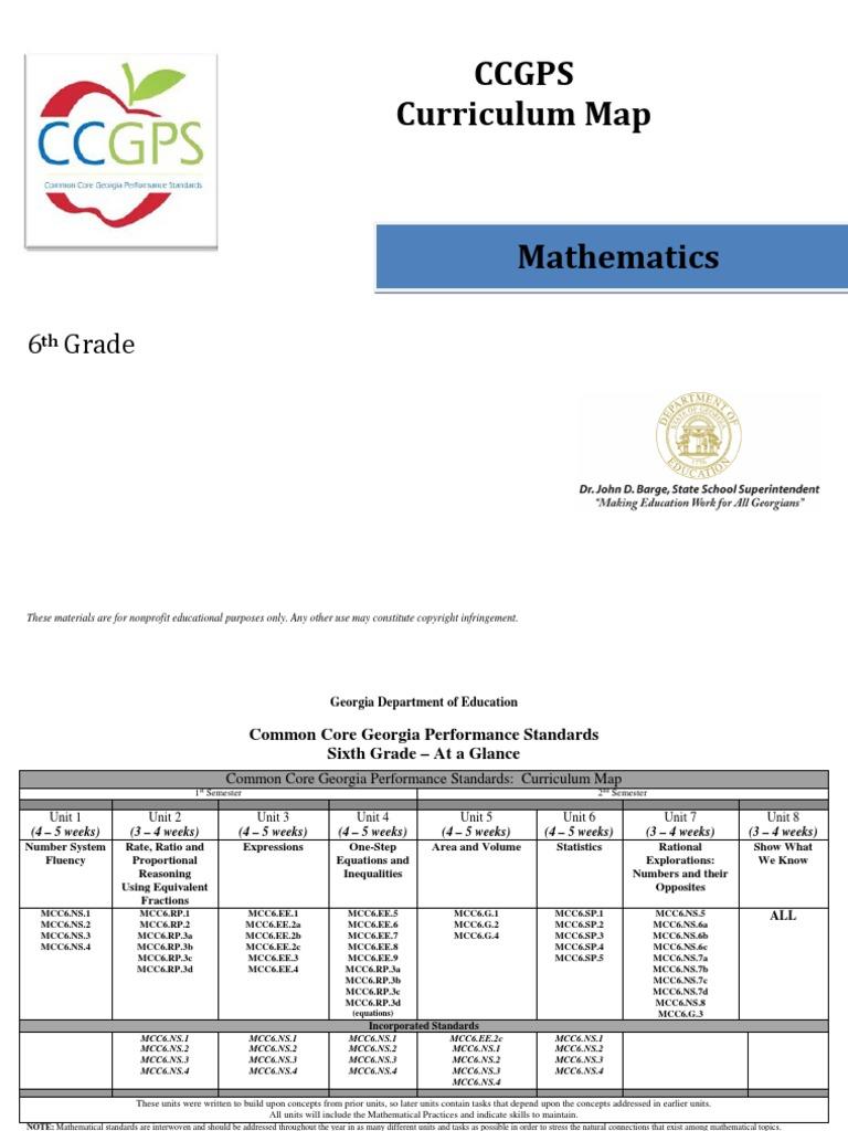 6th grade math curriculum map | Ratio | Area