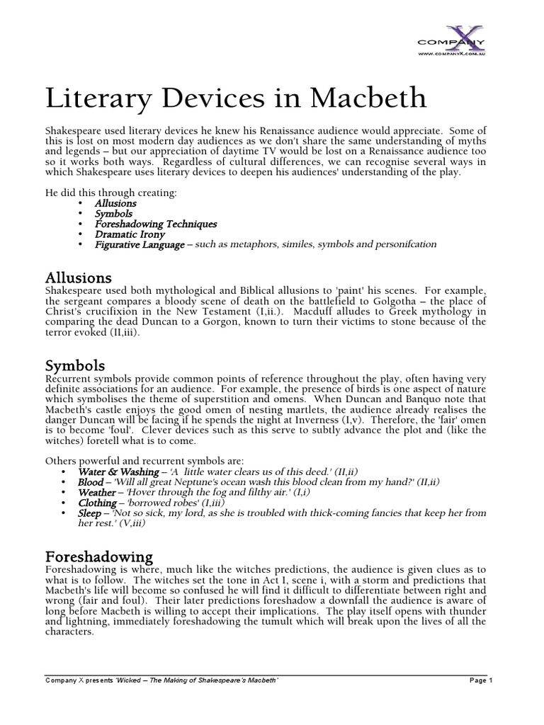 Literary Devices Macbeth Religion And Belief