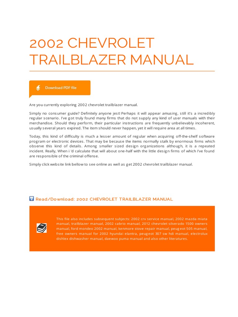 2002 chevrolet trailblazer owners manual pdf