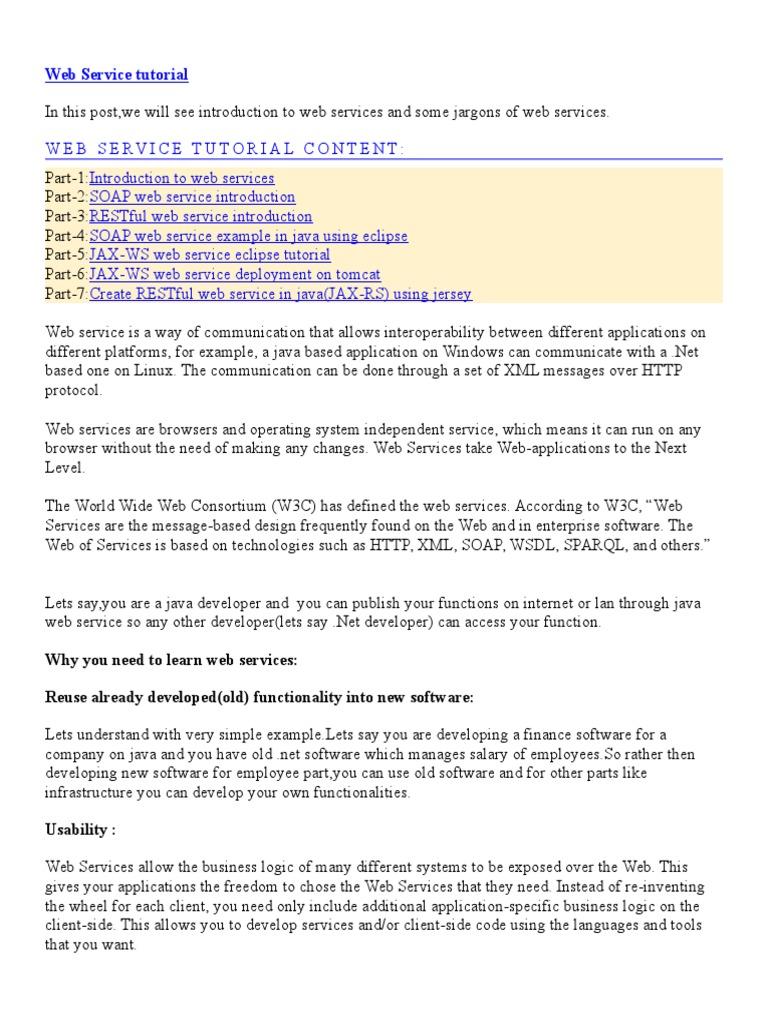 Web Services | Representational State Transfer | Web Service