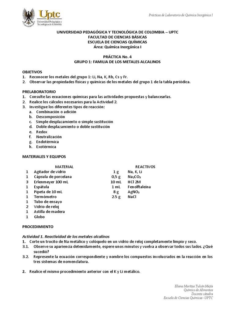 Practica Inorganica Alcalinos