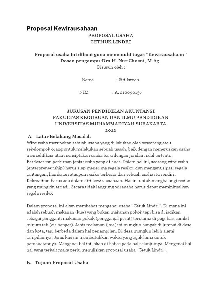 Proposal Kewirausahaan Getuk Lindri