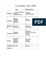 Childrens Timetable Term 1 2009