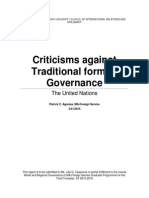 UN Criticisms to Traditional Governance