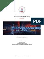 Entrepreneurship Course Outline Spring 2014