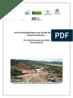 Curso de Multiplicadores em Gestão de Riscos de Desastres Naturais