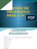 Revisão de Matemática Para a 2ª Ae
