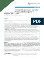 Rapport sur la mortalité précoce en Belgique