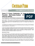 Karen E. Evans Celebrates 10 Years of Highest Possible Martindale-Hubbell AV Preeminent® Attorney Rating