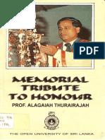 Memorial Tribute to Honour PROF. Alagaiah Thurairajah