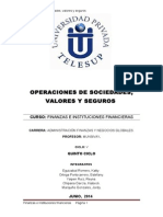 OPERACIONES DE SOCIEDADES, VALORES Y SEGUROS