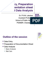 Data Entry, Preparation of Documentation Sheet And