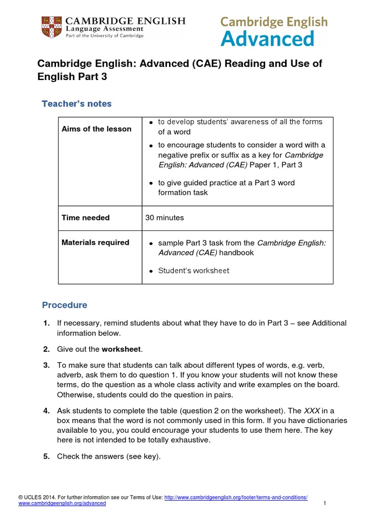 Cambridge English Advanced Cae From 2015 Reading and Use of