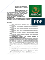 AMISOM SUPPORTS ENHANCING SOMALI FEMALE MP'S CAPACITY ON LAW AND MEDIA