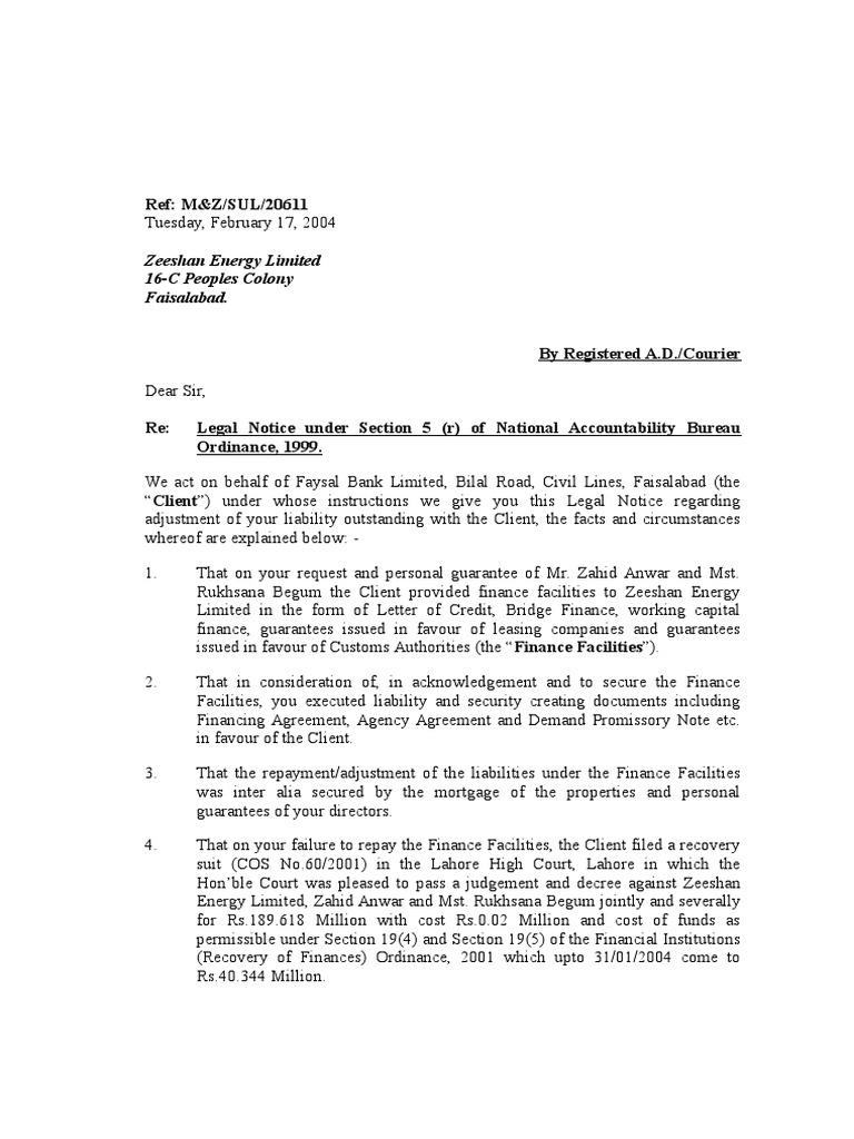 Faysal Bank Zeeshan Engergy Guarantee Business Law
