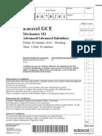 Edexcel GCE January 2010 Mechanics M2 QP