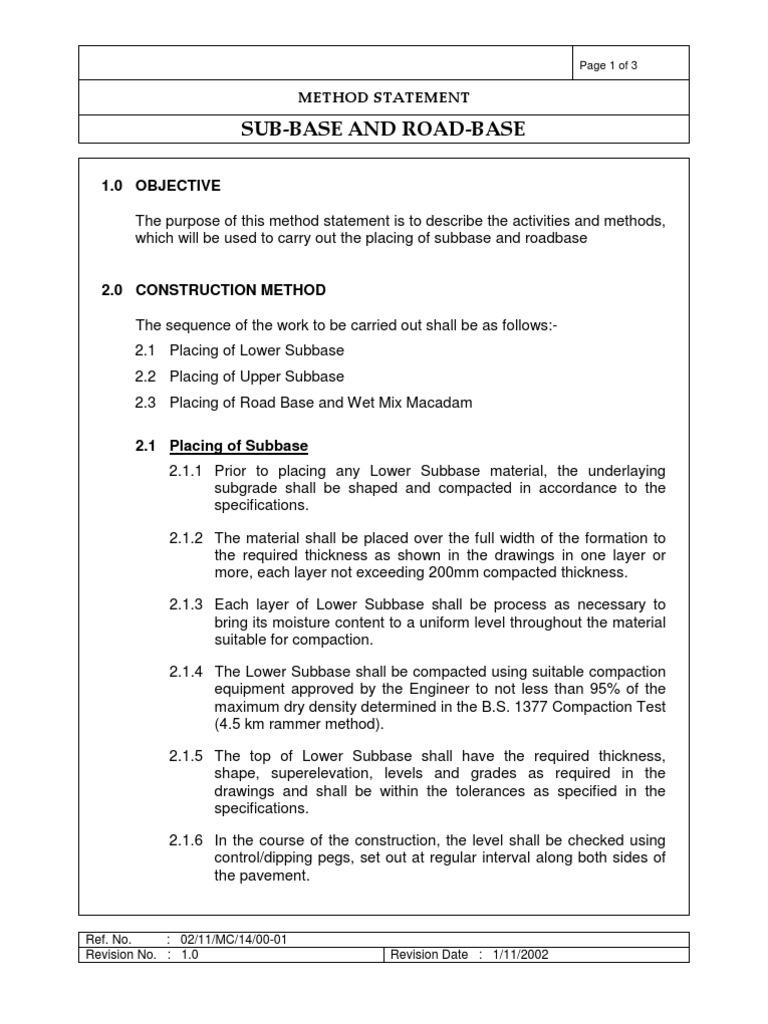 Method Statement for Roadbase Construction – Method Statement Template Doc