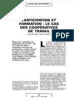 Participation Et Formation -Le Cas Des Coopératives de Travail