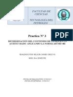 Informe norma ASTM D482 para determinar cenizas en combustibles