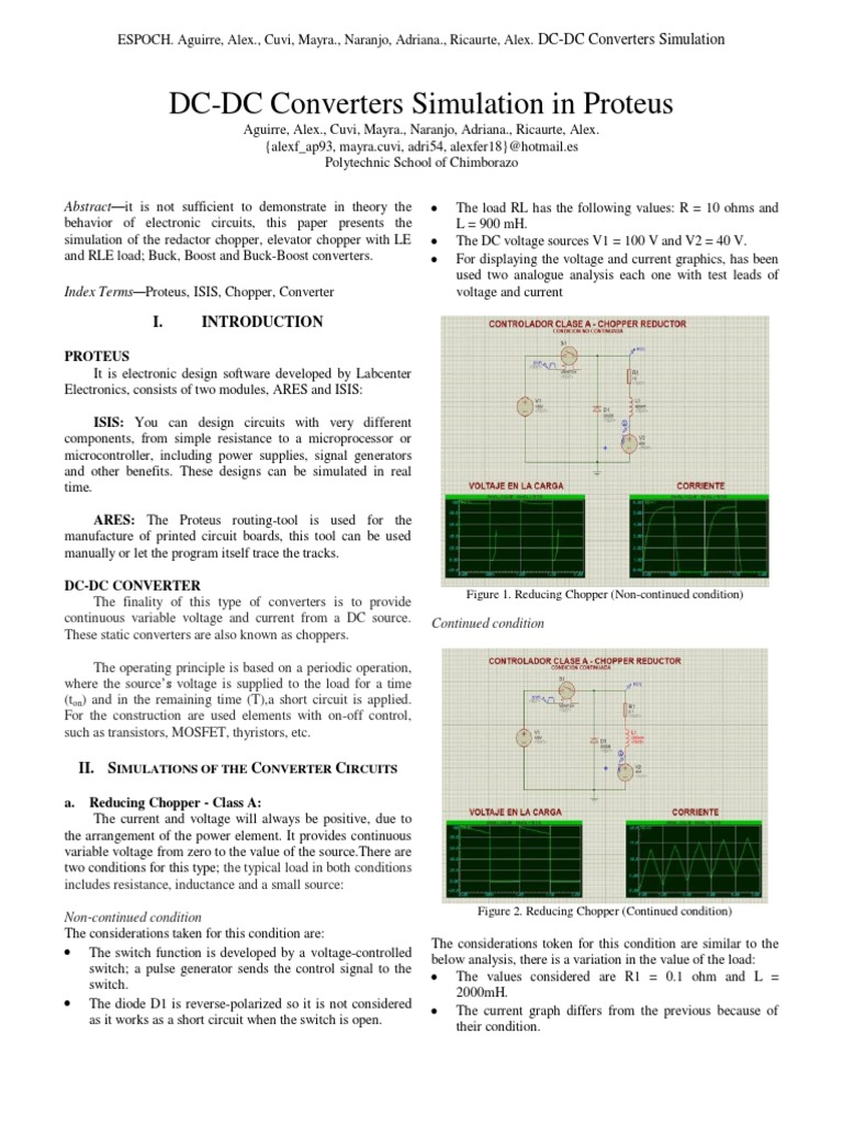Dc Converter Simulation Electrical Network Capacitor Types Of Chopper Circuits