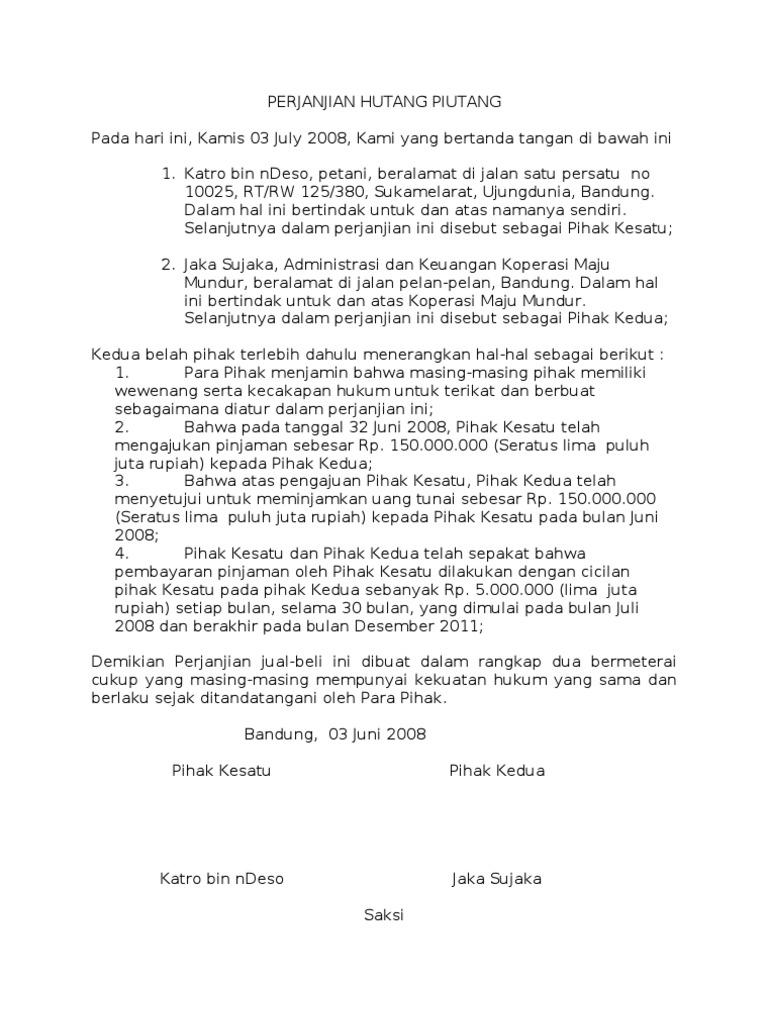 Surat Perjanjian Hutang Piutang Dengan Jaminan